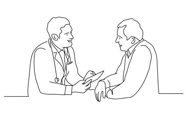 bildbanksillustrationer, clip art samt tecknat material och ikoner med läkare med manlig patient - patient