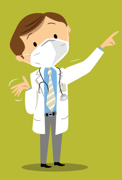 arzt mit maske fpp2 erklärt krankheit - ffp2 maske stock-grafiken, -clipart, -cartoons und -symbole