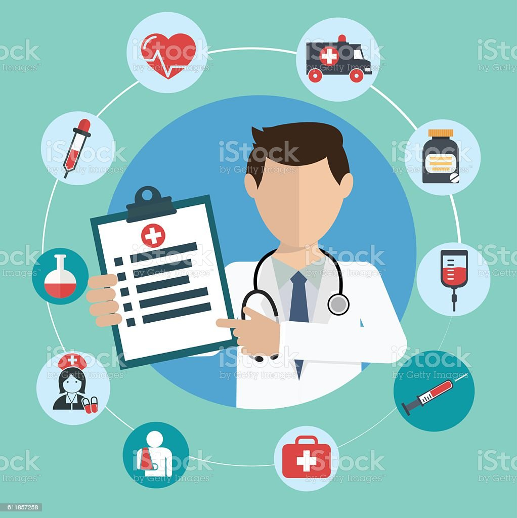Doctor with medical icons in a circle vector art illustration