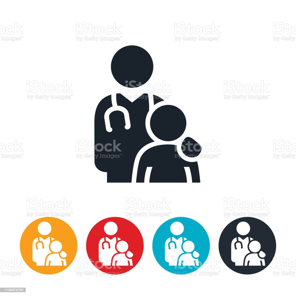 Doctor With Overweight Child Icon vector art illustration