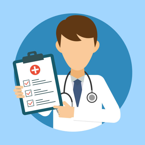 ilustrações de stock, clip art, desenhos animados e ícones de doctor with stethoscope and medical test. medic icon in flat style. health care services concept. banner with online doctor diagnosis. medical examination. vector illustration - doctor