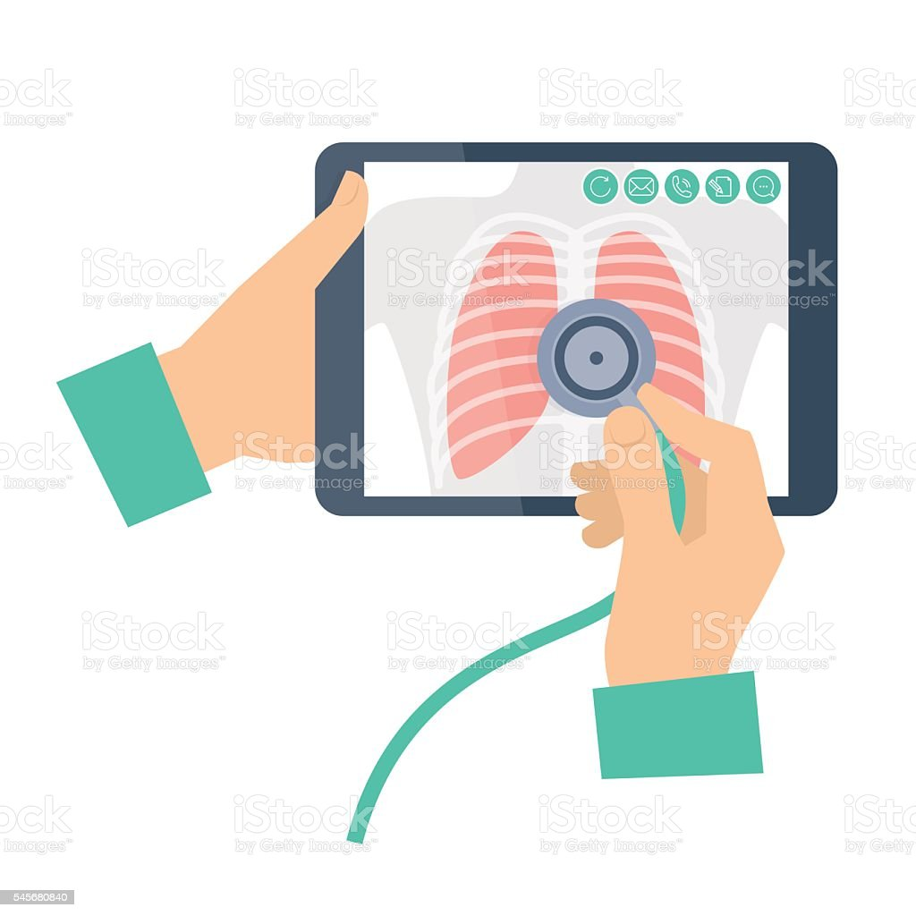 Doctor with stethoscope holding a tablet computer with lung radi vector art illustration