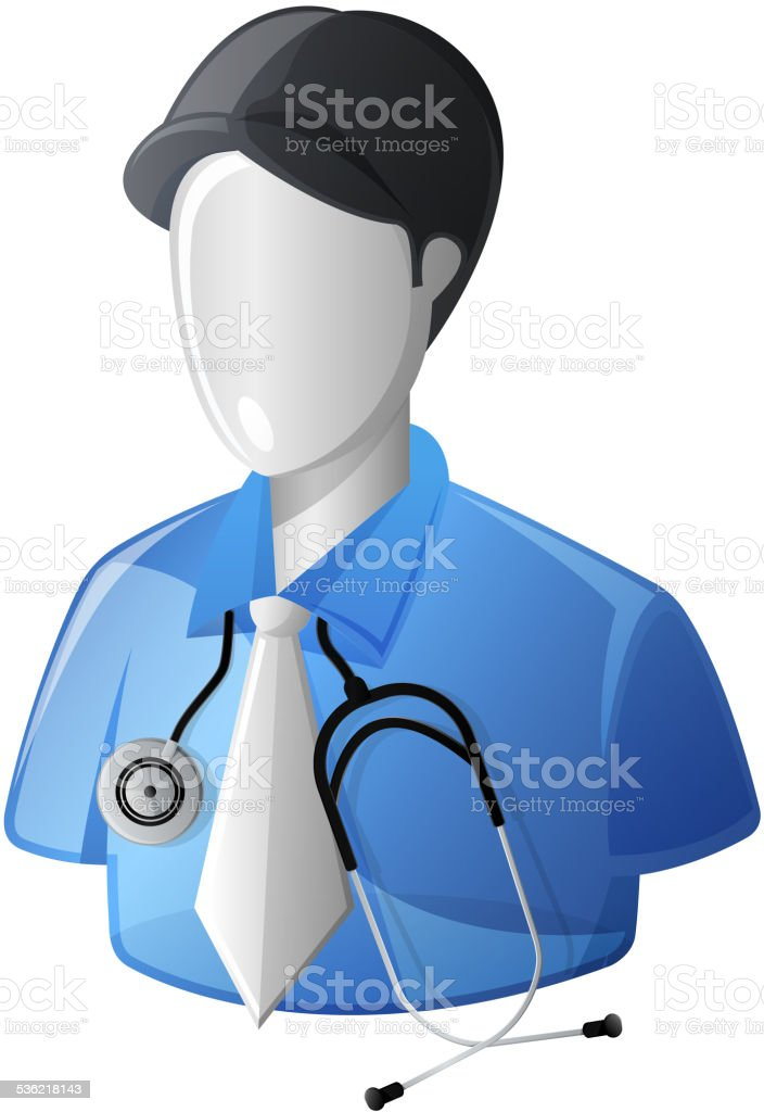 Doctor with Stethoscope vector art illustration