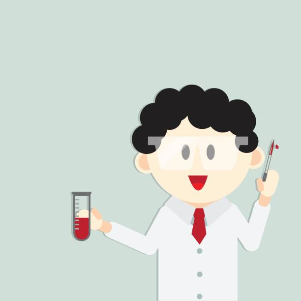 doctor with syringe on hand for laboratory research - flu shot stock illustrations