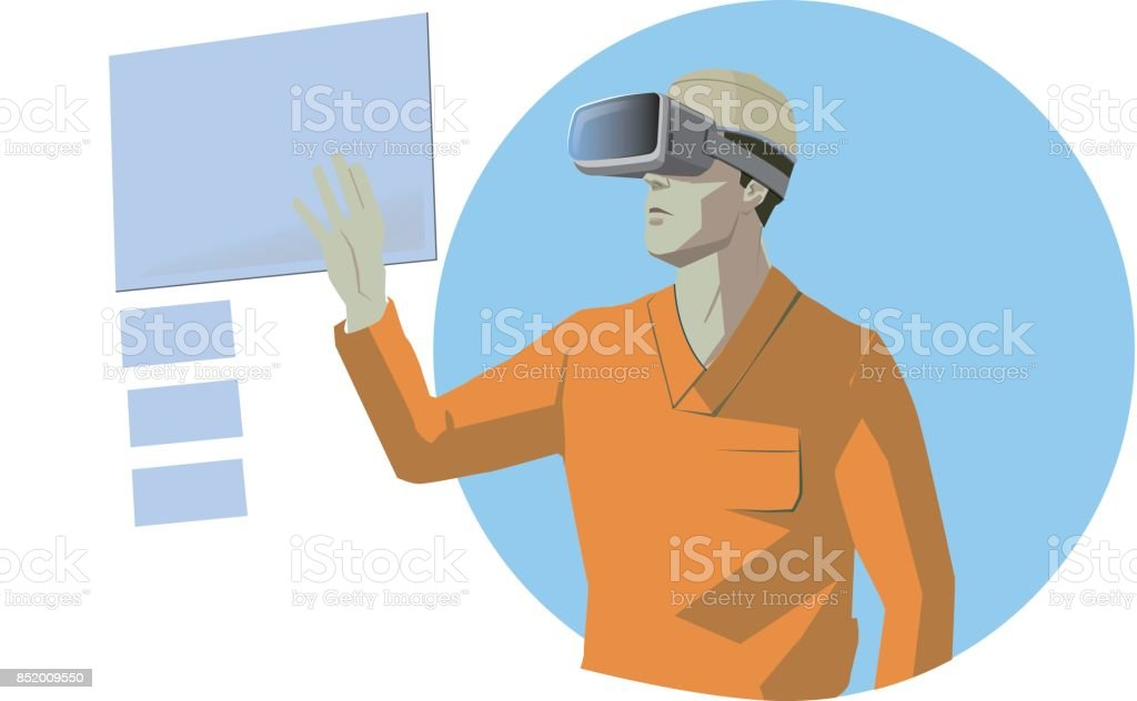 Doctor with vr glasses. Technology concept. vector art illustration