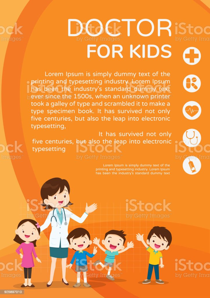 Doctor woman and cute kids background poster portrait vector art illustration
