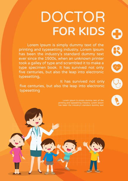 doctor woman and cute kids background poster portrait - pediatrician stock illustrations
