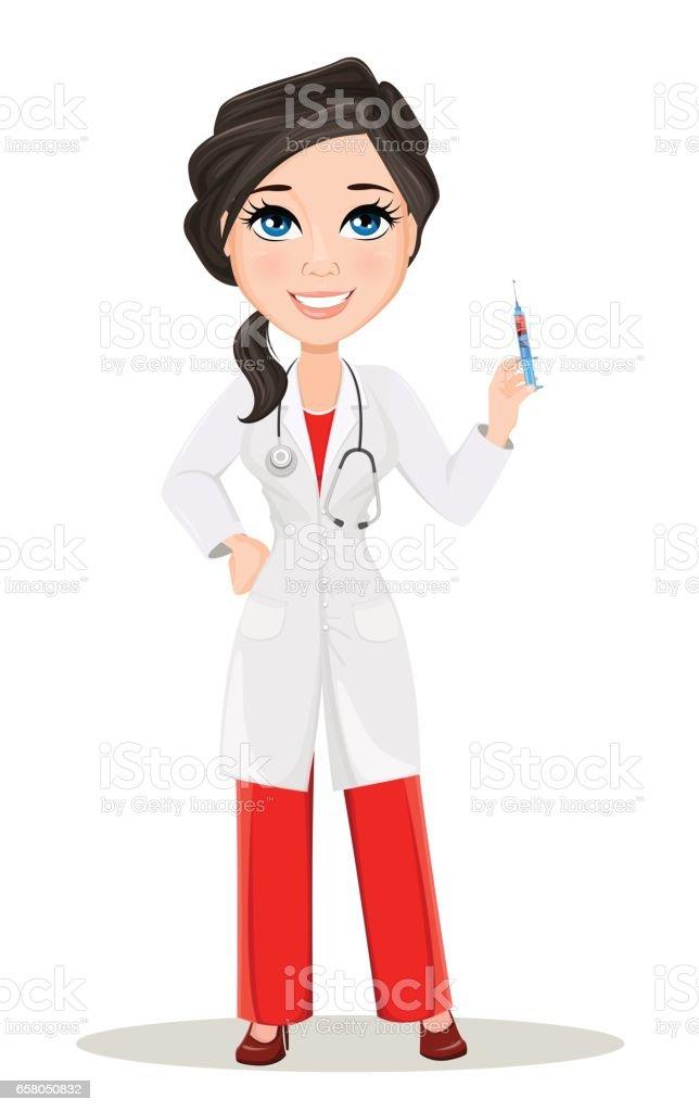 Femme Medecin Avec Stethoscope Dessin Anime Mignon Sourire Docteur Caractere Medical Robe Tenant La Seringue Avec Le Vaccin Illustration Vectorielle Eps10 Vecteurs Libres De Droits Et Plus D Images Vectorielles De Adulte