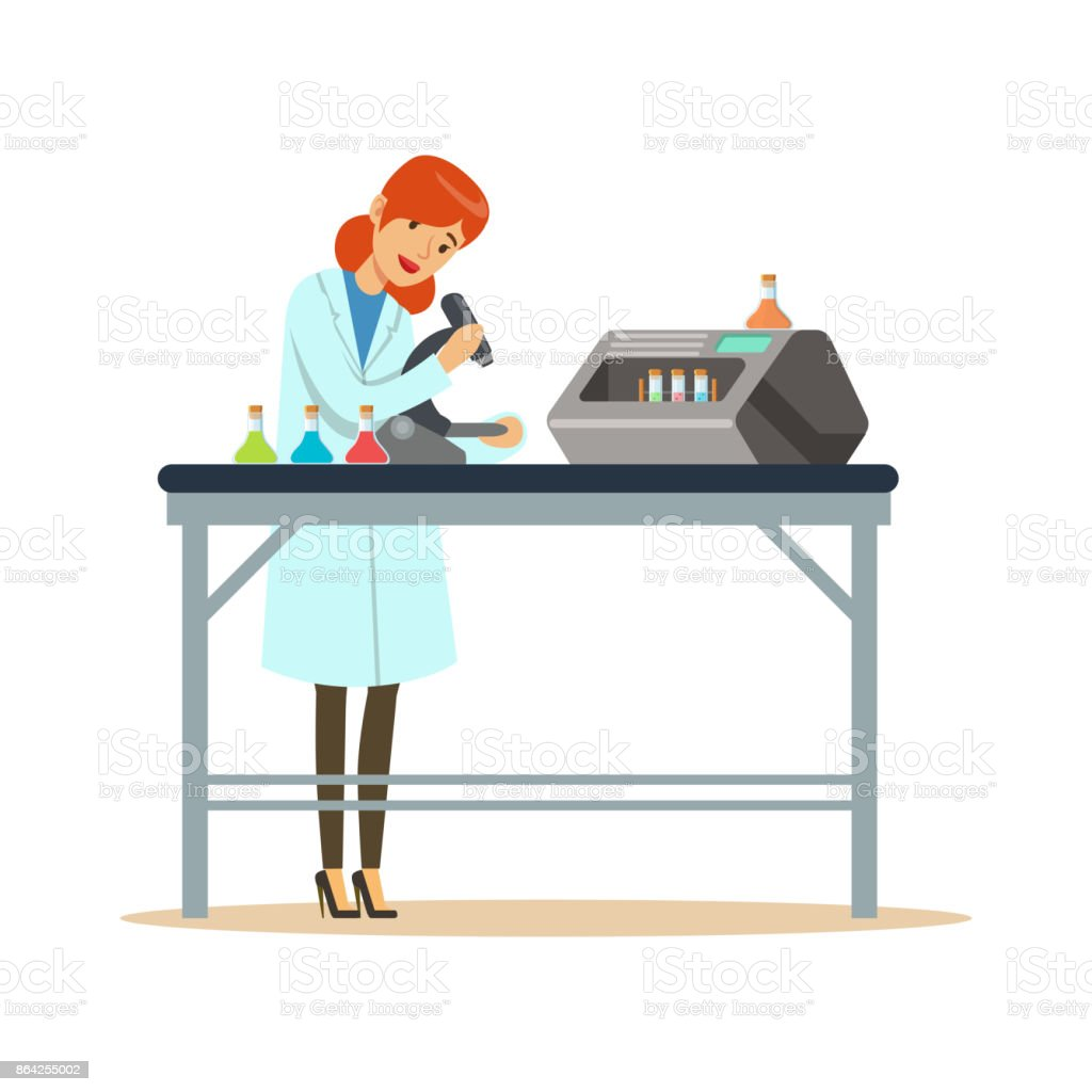 Doctor woman working with microscope and testing tubes in the lab royalty-free doctor woman working with microscope and testing tubes in the lab stock vector art & more images of adult