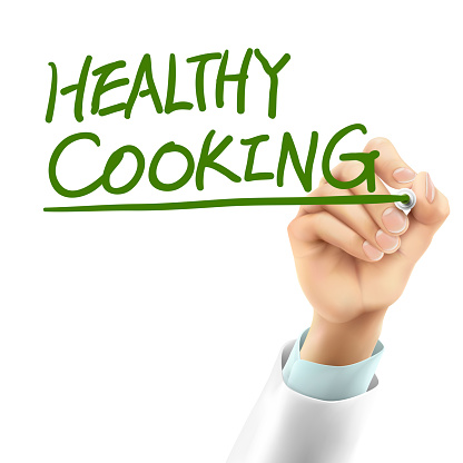 doctor writing healthy cooking words