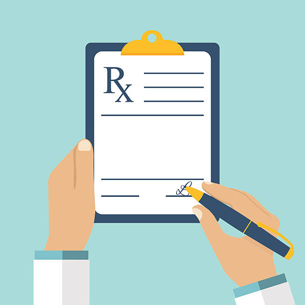 Doctor writing prescription. Doctor writing prescription. Clipboard in hands of doctor. Rx prescription form.  Medical prescription pad. Vector illustration flat design style. Medical background, template. rx stock illustrations