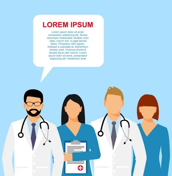 bildbanksillustrationer, clip art samt tecknat material och ikoner med läkare och assistent i en morgonrock med stetoskop. - allmänläkare