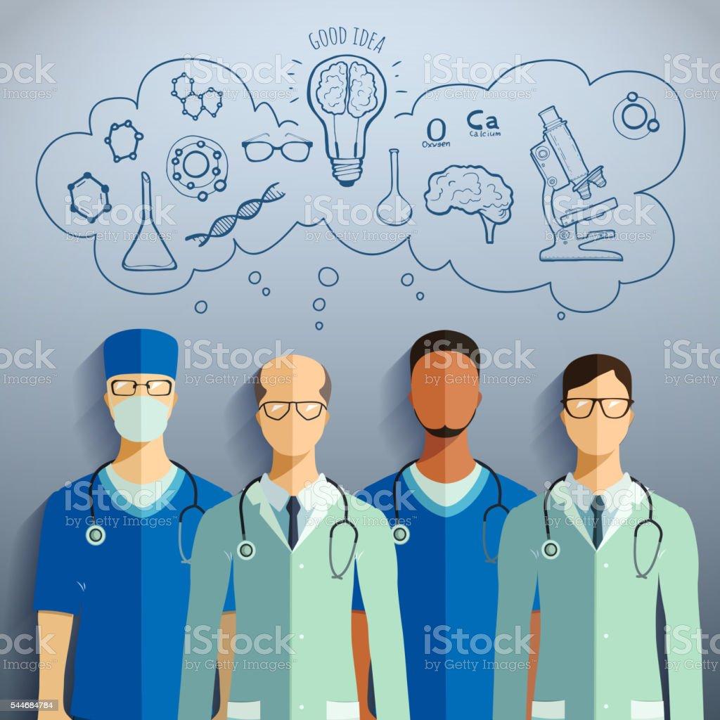 Doctors and medical staff. vector art illustration
