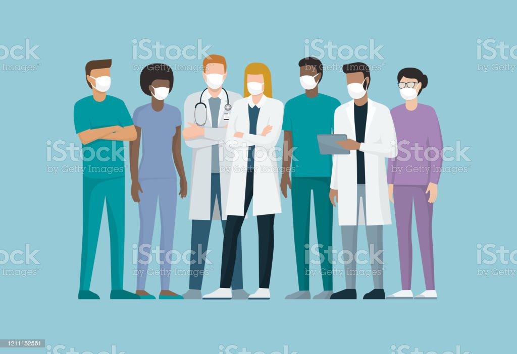 Läkare och sjukvårdspersonal bär kirurgiska masker - Royaltyfri Blandat ursprung vektorgrafik