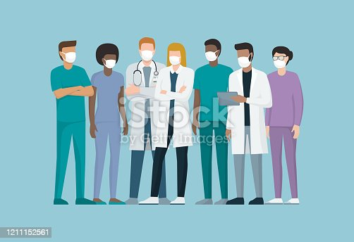 Doctors and medical staff wearing surgical masks
