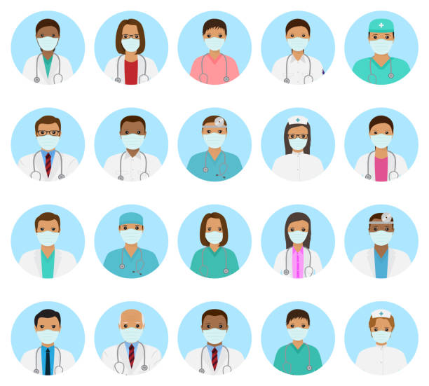 ilustrações de stock, clip art, desenhos animados e ícones de doctors and nurses characters avatars set. medical people icons of faces with mask. flat style vector illustration. - covid hair