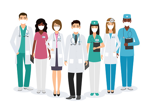 Doctors and nurses characters in medical masks standing together. Vector illustration.