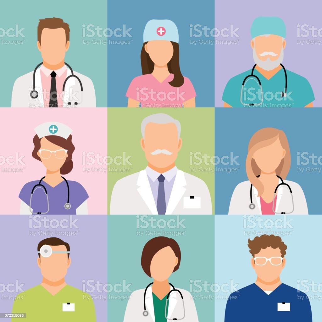 Doctors and nurses profile icons vector art illustration