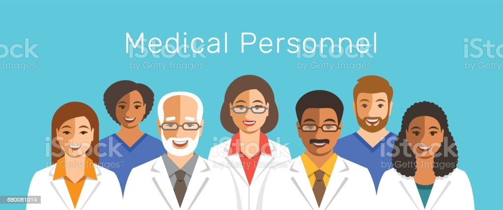 Doctors and nurses team smiling faces vector art illustration