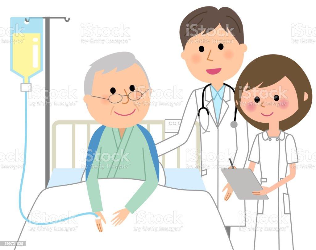 医師や看護師、入院患者 ベクターアートイラスト