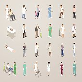 This detailed set of 24 icons is illustrated in a flat vector style. Healthcare professionals and patients include: a caretaker with a man in a wheelchair; lab technicians in white coats (with microscope and test tube); a mother with her small children; a man wearing scrubs looking at a tablet computer; a man with a cast on his leg and crutches; a pregnant woman; a newborn baby; men and women in lab coats; a senior man with an oxygen tank; surgeons with masks on and off; a patient in a hospital gown with a diagnostic screen; a patient laying down; hospital administrators and insurers wearing suits; an elderly woman holding prescription medication; a man in a wheelchair and a nurse taking his blood pressure; and a senior woman with a walker.