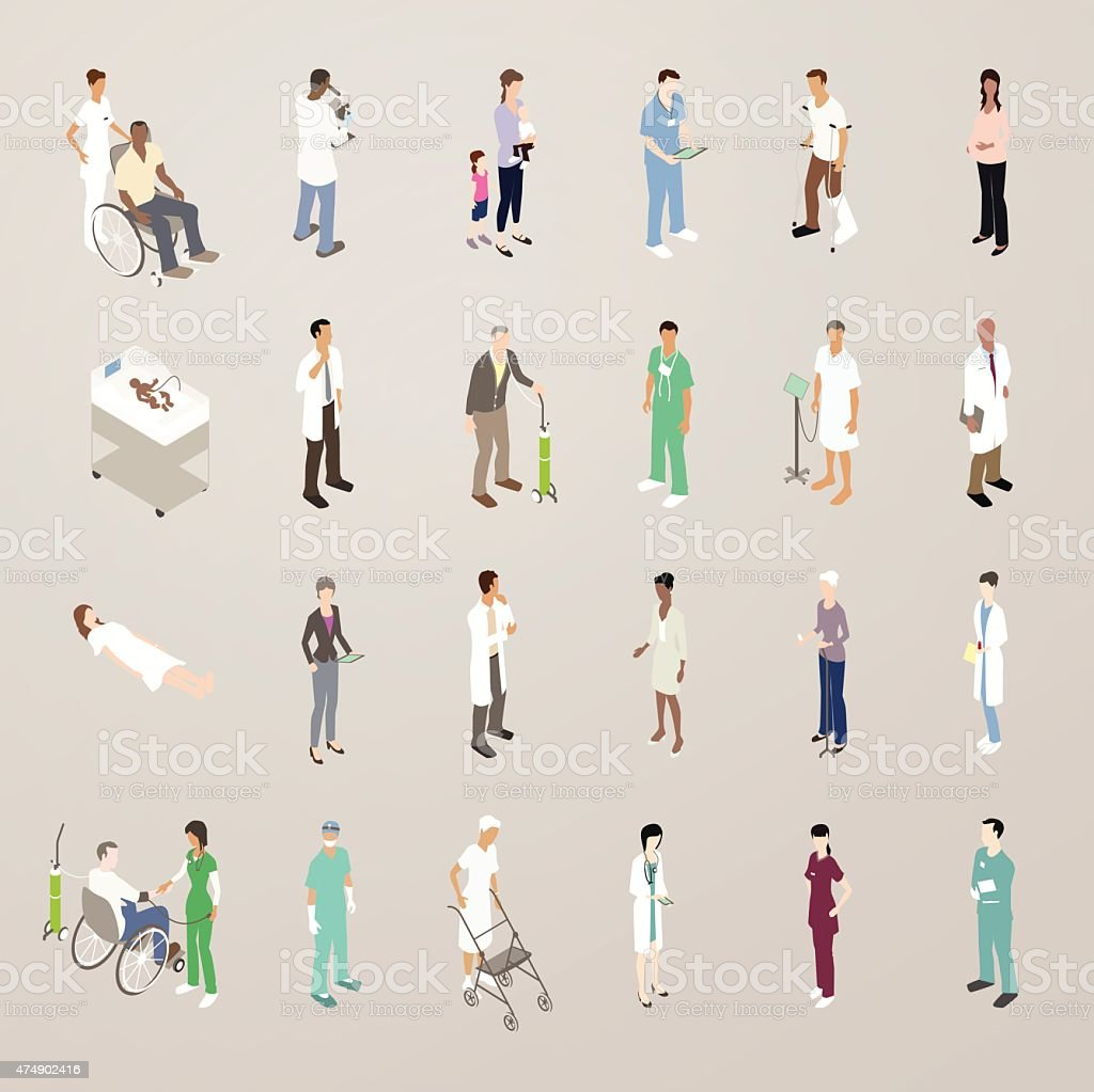 Doctors and Patients - Flat Icons Illustration vector art illustration