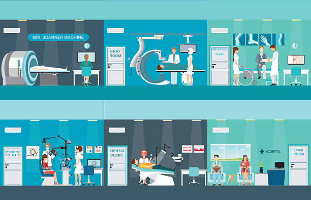 Doctors and patients in hospitals. Doctors and patients in hospitals, Medical services, dental care, x-ray, Orthopedic clinics, MRI scanner machine, ophthalmic testing device machine, C Arm X-Ray, health care conceptual vector illustration. radiology stock illustrations