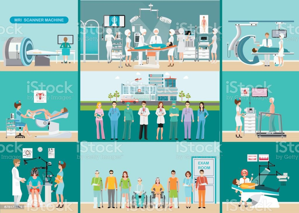 Doctors and patients in hospitals. vector art illustration