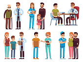 Doctors and patients. Medicine office staff hospital diagnosis treatment patient clinic doctor nurse professional help, medic vector image