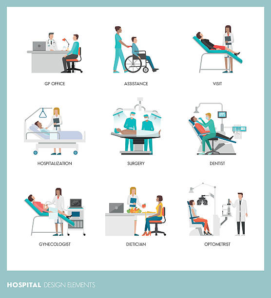 Doctors and patients - ilustración de arte vectorial
