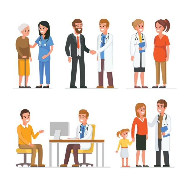 Doctors and patients Different medical staff with their patients. Vector medicine illustration doctor and patient stock illustrations