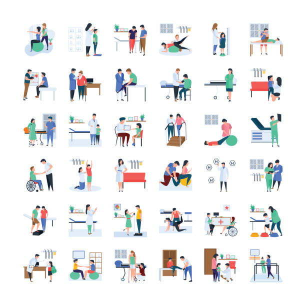 Doctors And physicians Illustration Pack This is doctors and physicians illustration bundle. This pack is useful and beneficial to the health and well-being of your work and projects.Grab this pack and utilize it. physical therapy stock illustrations