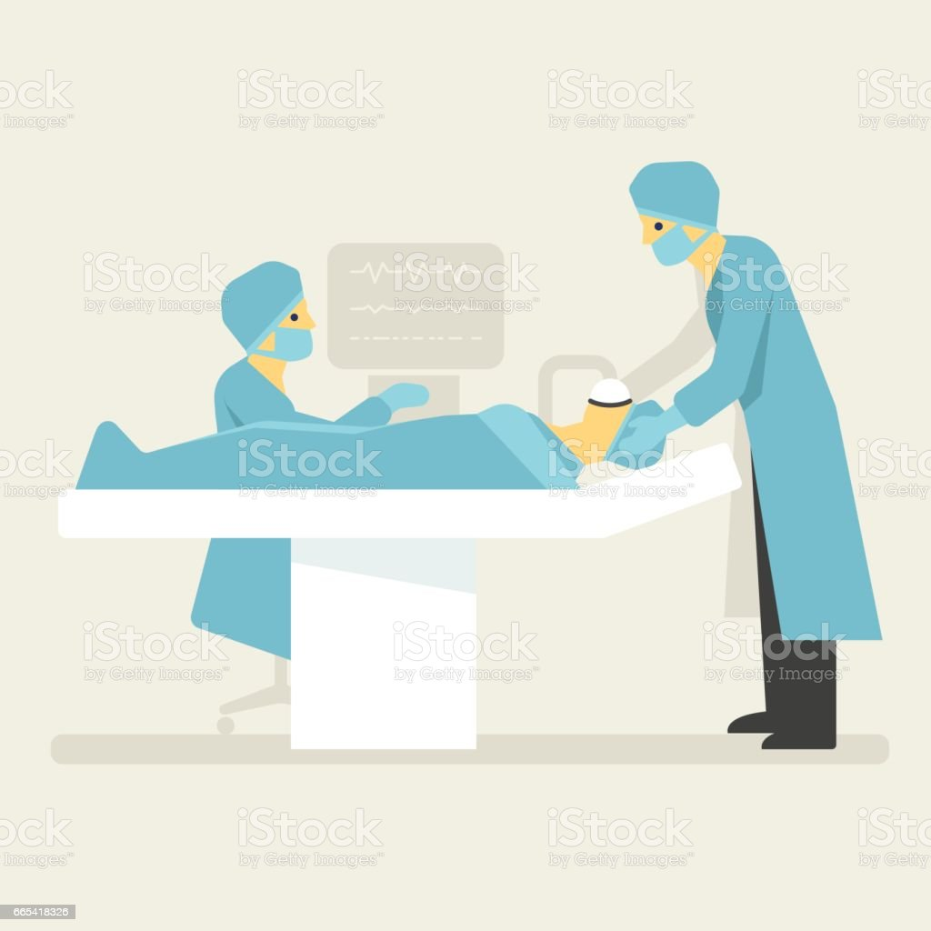 Doctors anesthesia patient. Medical flat style illustration vector art illustration