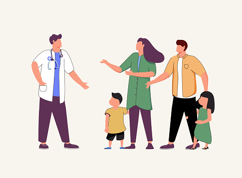 Doctor's appointment with children, family doctor, treatment of childhood disease, addictions and mental problems.