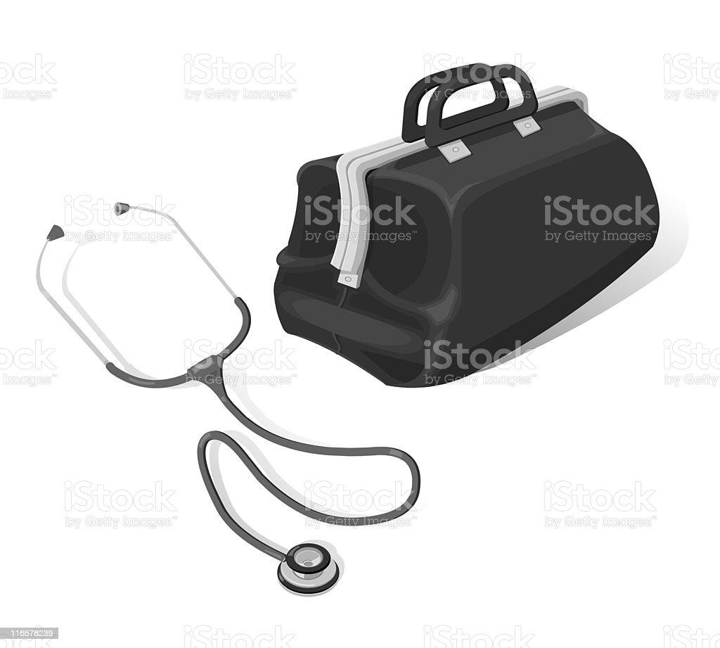 Doctor's Bag and Stethoscope vector art illustration