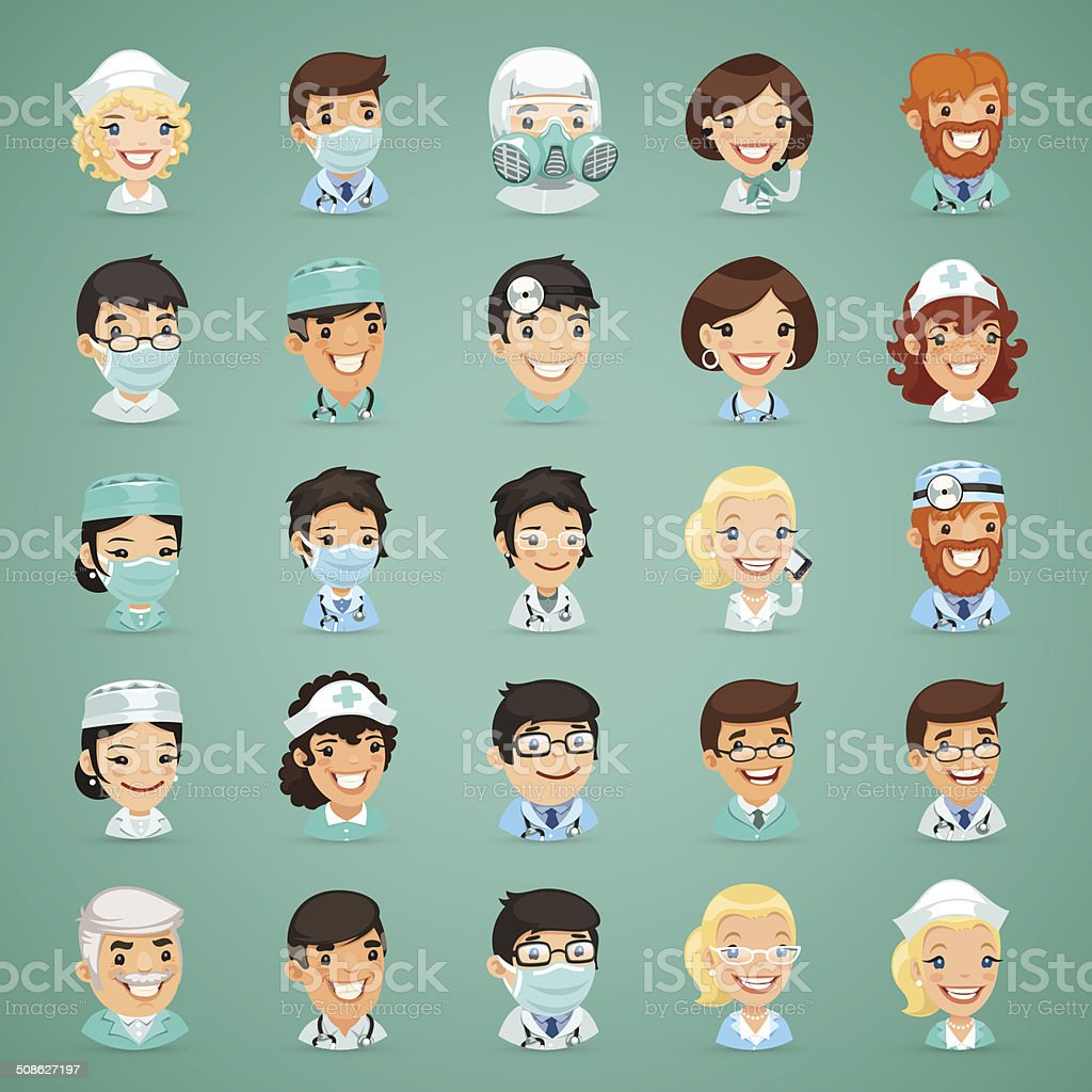 Doctors Cartoon Characters Icons Set vector art illustration