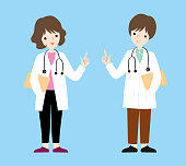 doctors characters female male full body vector illustration