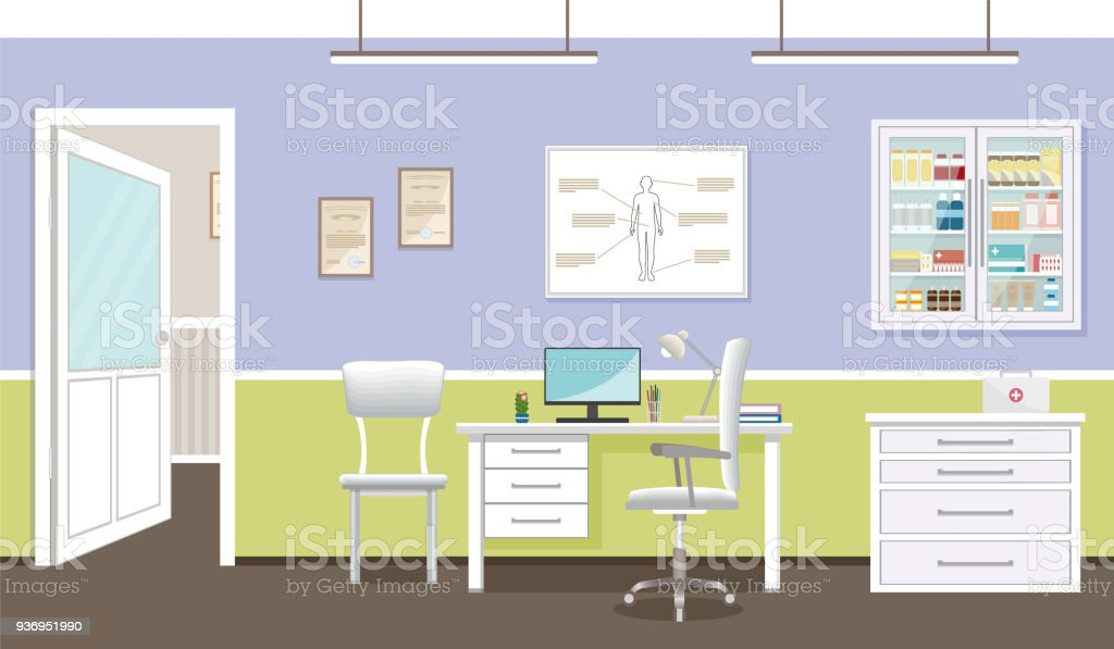 Doctors Consultation Room Interior In Clinic Hospital Working In ...