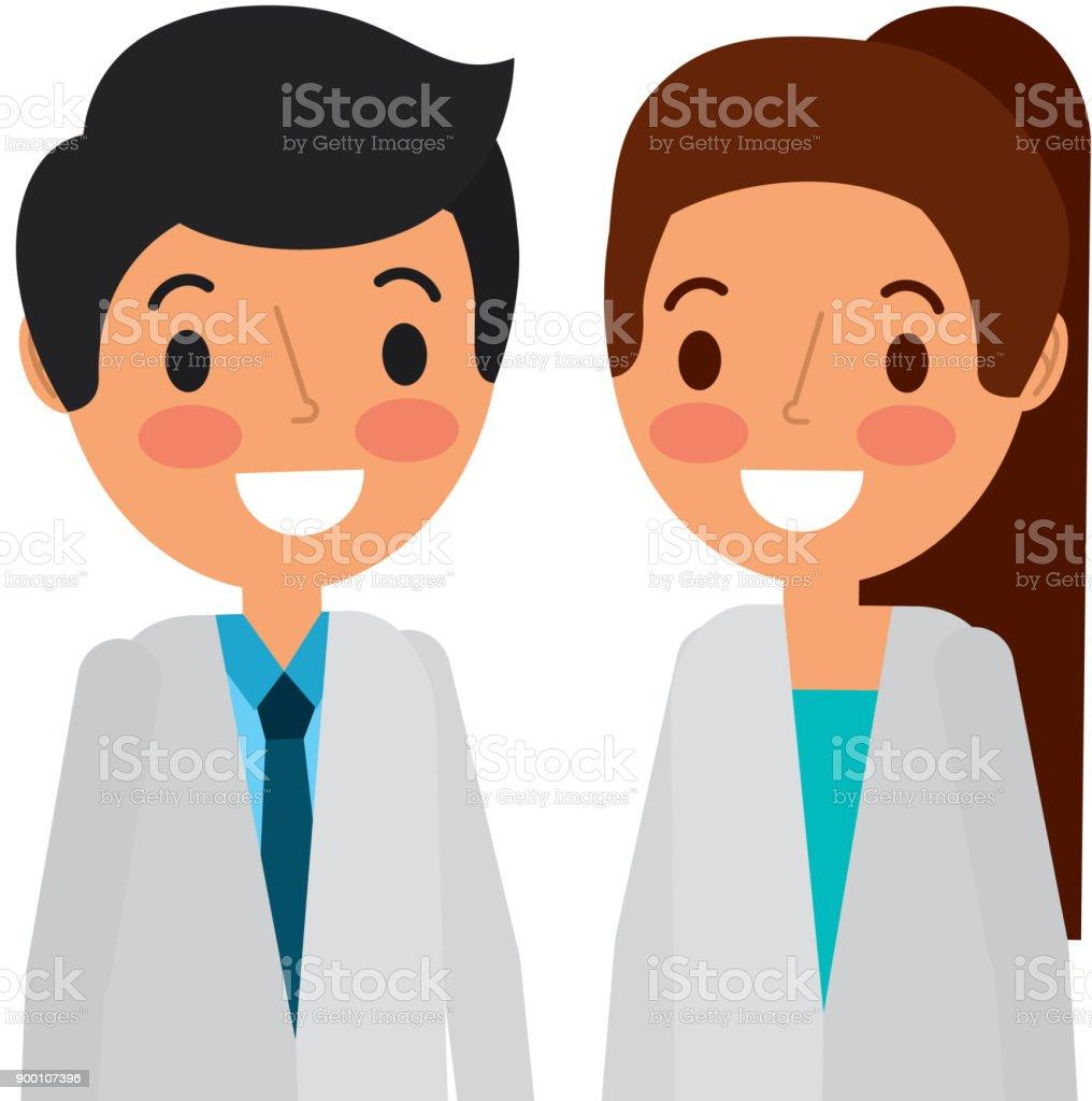 doctors couple avatars characters vector art illustration