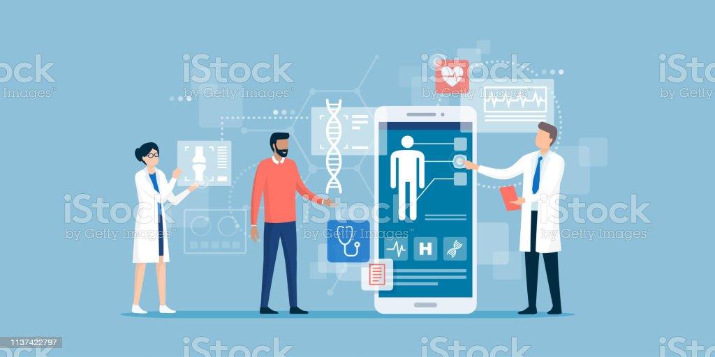 Doutores que examinam um paciente usando um app médico - Vetor de Aplicação móvel royalty-free