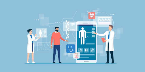 Doctors examining a patient using a medical app Doctors examining a patient using a medical app on a smartphone, online medical consultation and technology concept medical stock illustrations