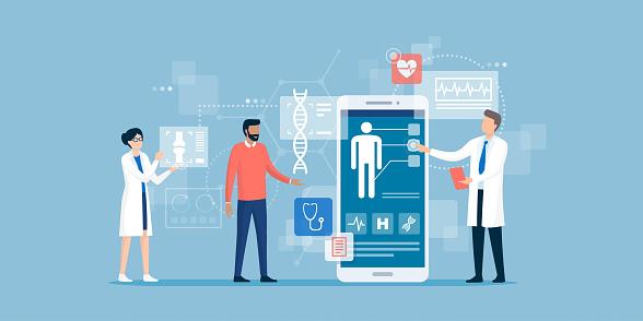 Vetores de Doutores Que Examinam Um Paciente Usando Um App Médico e mais imagens de Aplicação móvel
