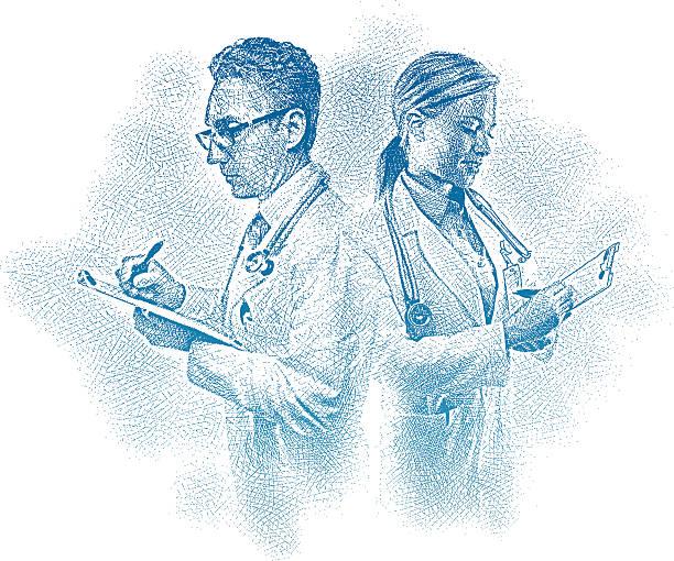 врачи, заполнив медицинскую документацию - граттаж stock illustrations