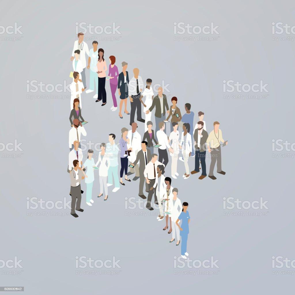 Doctors forming a cursor arrow vector art illustration