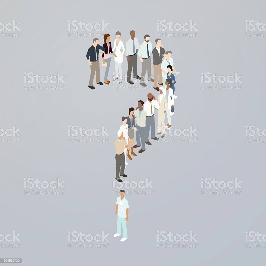 Doctors forming a question mark vector art illustration