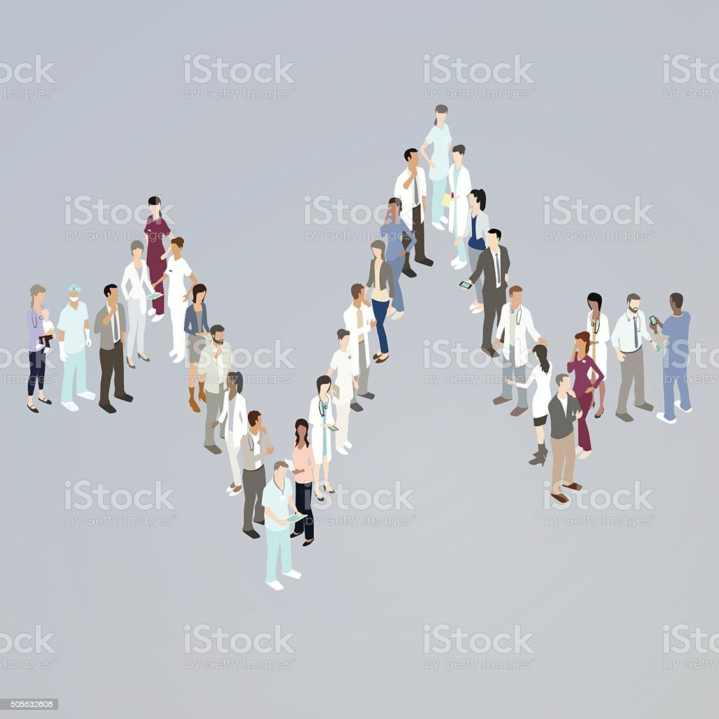 Doctors forming an EKG line royalty-free doctors forming an ekg line stock vector art & more images of doctor