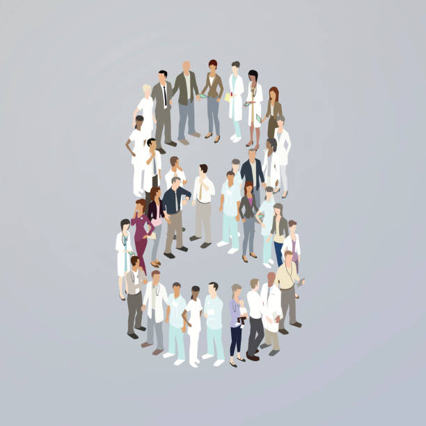 Doctors forming the number eight vector art illustration