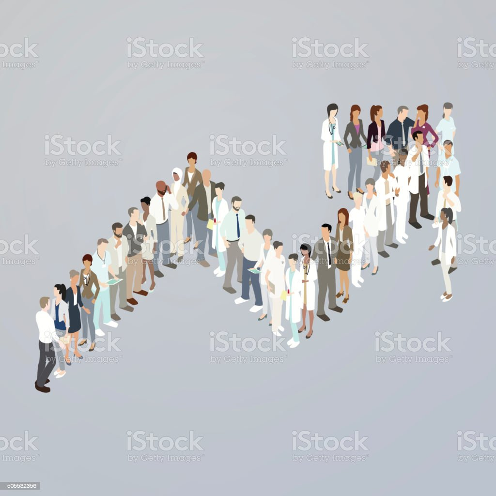 Doctors forming upward trend arrow vector art illustration