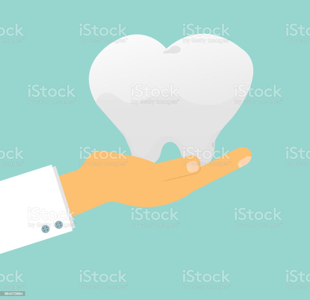 doctor's hand holding human tooth on background, Tooth care concept. Vector  Illustration - Royalty-free Awards Ceremony stock vector
