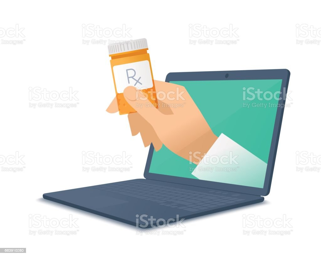 Doctor's hand holding orange container through the laptop giving cure. vector art illustration